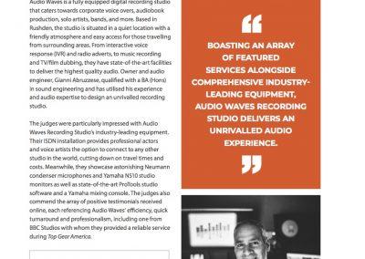 Corporate LiveWire Prestige Award - 'Recording Studio of the Year' - Editorial