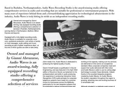 SME News Enterprise Award – 'Recording Studio of the Year' – Editorial